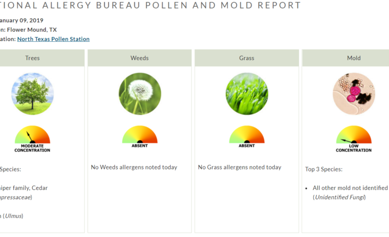 Pollen Count Alert January 9 2018 Flower Mound Denton Texas allergist allergies asthma