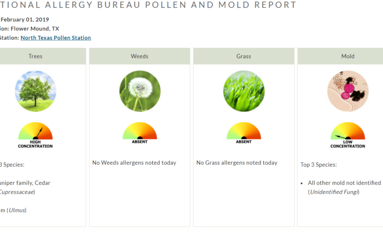 TREE POLLEN ALERT: There are HIGH concentrations of Tree pollen (Juniper family, Cedar, Elm) Visit the website to get the full report. http://bit.ly/2SsNFrw Our board certified allergists and staff are here to serve you. We are focused on continually improving the quality of care we deliver. Don't let allergies or asthma get in the way of your life.Call 972.539.0086 or visit the website www.faaccares.com #allergy #allergies #pollencount #pollen #pollencountingstation #northtexas #flowermound #denton #treepollen #juniper #cedar #elm